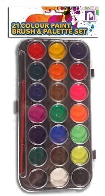 Childrens 21 Colour Paint, Brush & Palette Set FREE & FAST DELIVERY