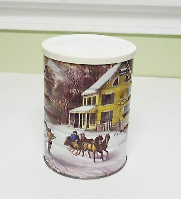Vintage Maxwell House Coffee Can '' Currier & Ives American Homestead Winter ''
