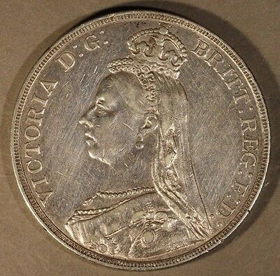 1890 Great Britain Silver Crown High Grade Lightly Cleaned**FREE U.S SHIPPING **