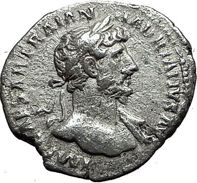 HADRIAN 118AD Genuine Ancient Silver Roman Coin SALUS Asclepius daughter i59117