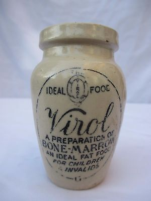 SMALL STONEWARE EARTHENWARE POT JAR BOTTLE VIROL c1900 NOT POISON INK
