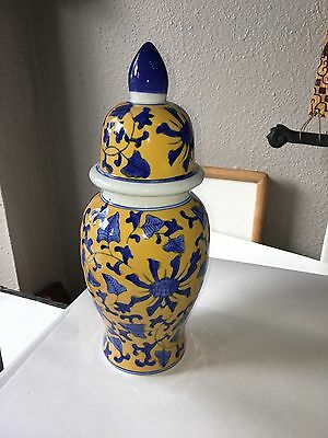 Chinese Ginger Jar Vase Urn Yellow and Blue Signed with an R on Bottom