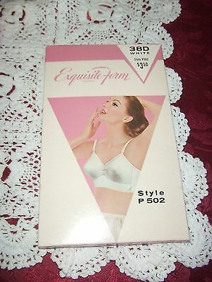 vntg 1960's Exquisite Form bullet bra sz 38D white cotton NOS IOB new
