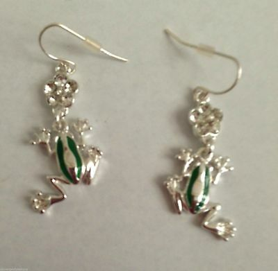Frog Earrings Green Jewelry Crystal Flower Accents Peace Love Hippie Tree New