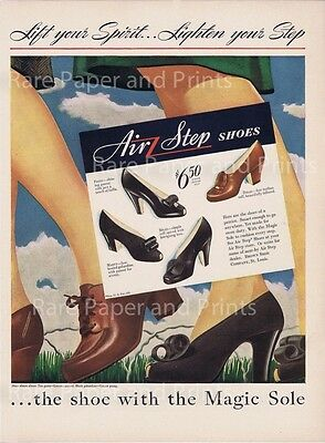 Vintage Fashion Air Step Womens Shoes Original 1943 Illustrated Print Ad
