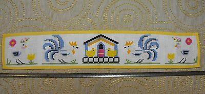 Vintage cross-stitch hand-embroidered Easter runner Rooster, hen, chicks