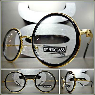 CLASSIC VINTAGE 60's RETRO Style Clear Lens EYE GLASSES Round Black & Gold Frame