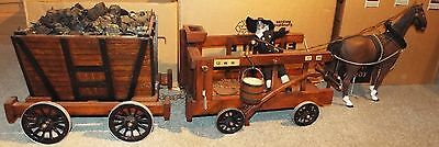 Large Scale Model Railway Coal Mine Wagon and Miner Cart + Horse, Home Made