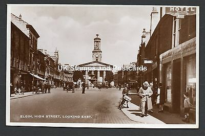 1936 Elgin High Street Looking East Posted RP Card Nice Glenlivet Postmark