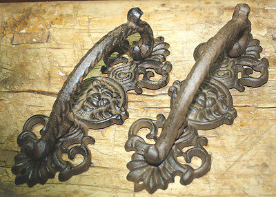 2 HUGE Cast Iron Antique Style RUSTIC Barn Handle Gate Pull Shed Door Handles