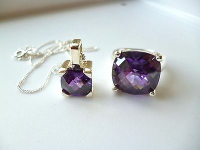 Beautiful Amethyst Cz & 925 Sterling Silver, Chunky Ring & Pendant Set  *vgc*