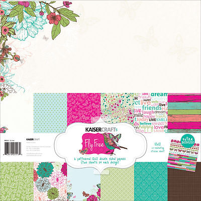 Kaisercraft Fly Free (1) 12X12 Scrapbooking Collection Pack Kit Butterfly Birds