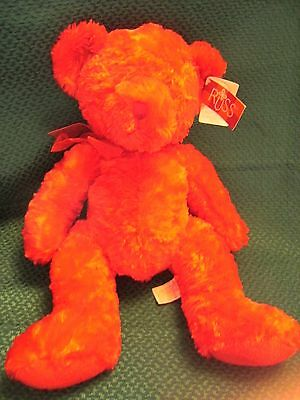 """Rare  Russ Berrie """"scarlet"""" Red Teddy Bear Soft Toy 16"""" Approx With Tags"""