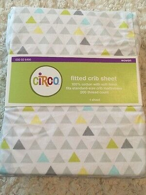 NEW Circo White Gray Teal Green Triangles Fitted Baby Crib Sheet 100% Cotton