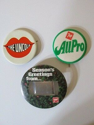 Lot of 3 Vintage 7up Soda Uncola Advertising Buttons