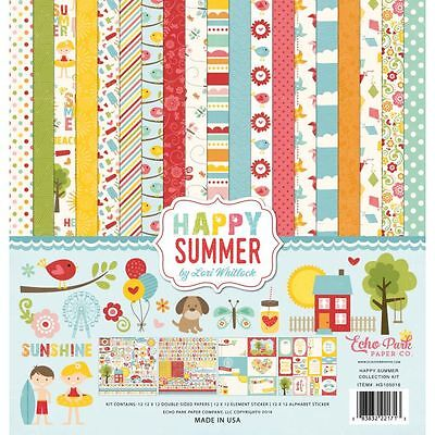 Echo Park Happy Summer (1) 12X12 Scrapbook Collection Pack Kit Kites Birds Trees