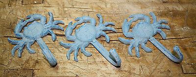 3 Heavy Cast Iron BLUE CRAB Towel Hanger Coat Hooks Hat Hook, Key Rack Nautical