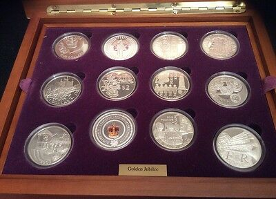 2002 Queen Elizabeth II Golden Jubilee 24 Coin Silver Proof Collection Cased