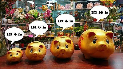 Feng Shui Chinese Ceramic Lucky Good Fortune Pig Piggy Money Coin Bank 4 in
