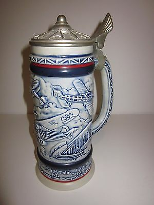 AVON Beer Stein - AIRPLANES - 1981 (Handcrafted in Brazil) Lidded