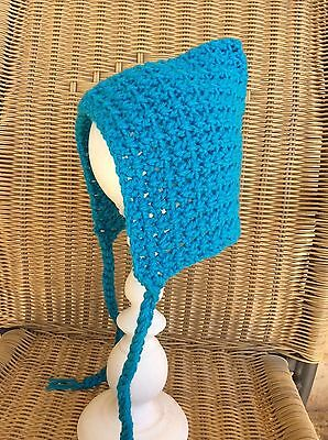 Turquoise  BABY GIRLS CROCHET PIXIE HAT BONNET -  3 to 6 months AUSSIE MADE