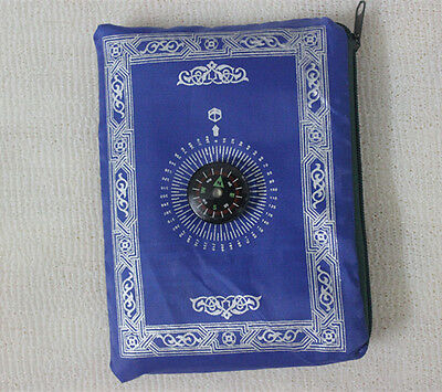 Blue Pocket Portable Poly Prayer Rug Mat Muslim Eid Gift with Compass Attached