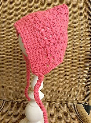 STRAWBERRY PINK BABY GIRLS CROCHET PIXIE HAT BONNET   0 to 3 months AUSSIE MADE