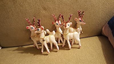 SET OF 5 VINTAGE HONG KONG REINDEER WITH BELL COLLARS PLASTIC Heads Move