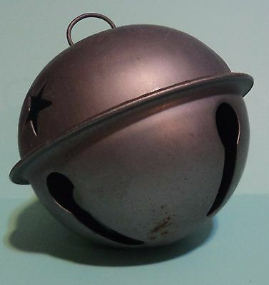 """Rustic Patina Silver Sleigh Jingle Bell Large 3.5"""" Christmas Ornament Decoration"""