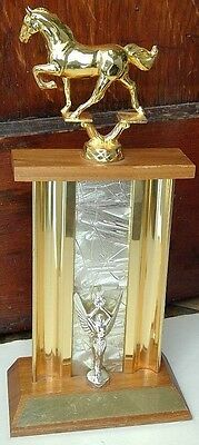 """S. E. H. S. trophy gold metal horse/winged victory wood mid centrury detail 14"""""""