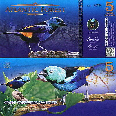ATLANTIC FOREST - 5 aves dollars 2015 FDS UNC