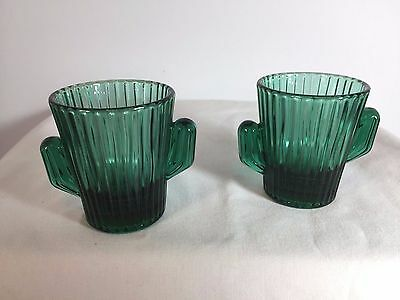 Libby Green Cactus Shot Glass - Collectible Emerald Cup Toothpick Holder - 2 Set