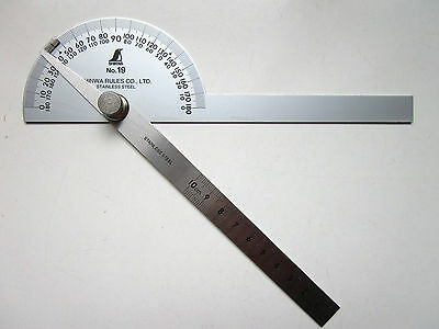 SHINWA Protractor No.19 Double Blades Stainless Steel Popular Size 62490 Japan