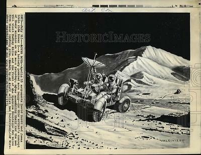 1971 Press Photo Drawing Apollo 15 Astronauts David Scott, James Irwin on Rover