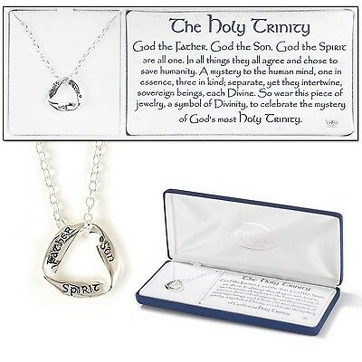 The Holy Trinity Father, Son and Holy Spirit Silver Plated Pendant Necklace -...