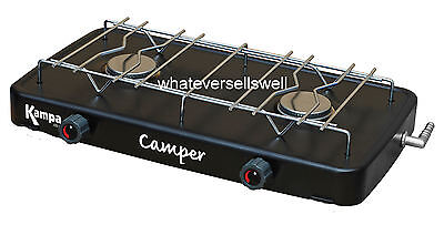 PORTABLE DOUBLE GAS COOKER stove camping 2 burner hob