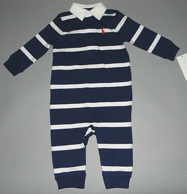 Baby boy clothes, 9 months, Ralph Lauren French Navy striped jumpsuit