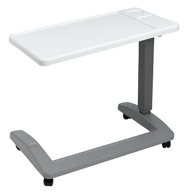 Overbed Table Hospital Bedside Adjustable Over Wheelchair Seat Tray Rolling New