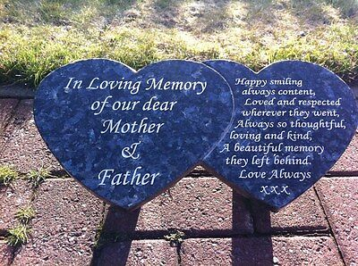 Double Heart Grave Marker Blue Pearl ( Personalised For You)