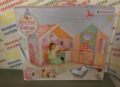 NEW Dream Town Rose Petal Cottage Kids Play House & Cooker Box Squashed