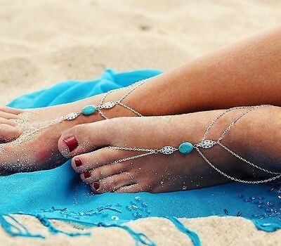 Silver Barefoot Sandal Ankle Chain Toe Ring Summer UK Ladies Turquoise Indian