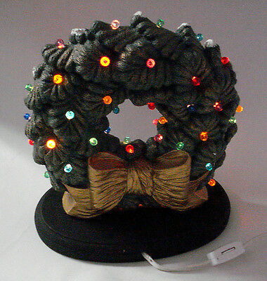 "VTG 10"" Ceramic Mold CHRISTMAS WREATH ELECTRIC LIGHT Multi Color Ornaments 2-pc"