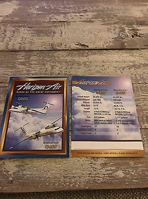 Horizon Airlines Bombardier Q200 And Q400 Baseball Style Airplane Info Cards