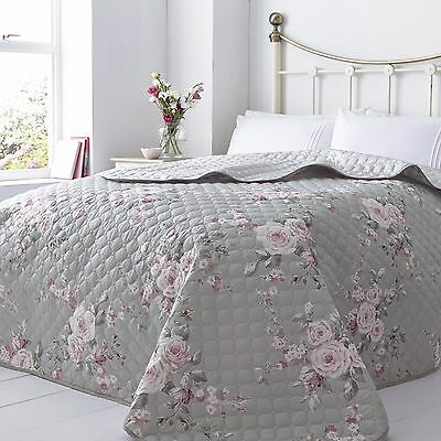 Catherine Lansfield Canterbury Quilted Bedspread Grey Pink Rose 240 x 260 cm