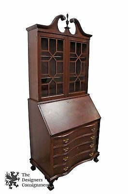 Antique Georgian Style Serpentine Secretary Desk + Bookcase Ball & Claw Foot
