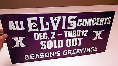 ELVIS SOLD OUT VEGAS '76 Hilton Hotel Box Office Banner Sign Pennant