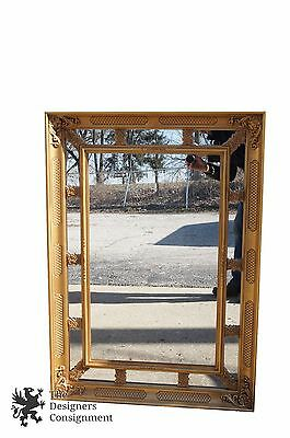 """Hollywood Regency Style Gold Toned Wall Hanging Mirror 42"""" x 30"""" French Vintage"""