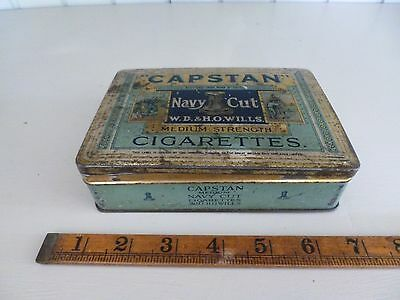 Rare Wills Capstan Navy Cut 100 Cigarette Tin With Hinged Lid
