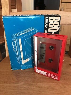 Vintage Red Personal Tape Cassette Player Mini Friend Stereo Boxed & Headphones