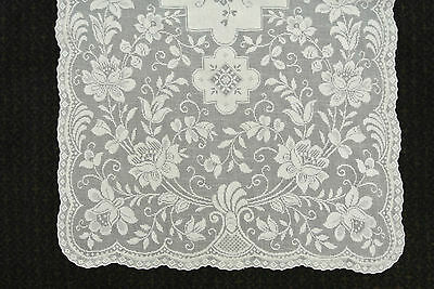 """Pair Vintage Very Fine  Cotton RUNNERS Table 16"""" x 46"""" Delicate Tablecloth Lace"""